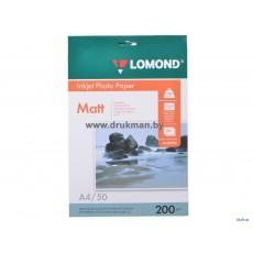 Фотобумага Lomond матовая двусторонняя A4, 200 г/м2, 50 л. (0102033)