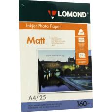 Фотобумага Lomond матовая односторонняя  A4, 160 г/м, 25 л. (0102031)