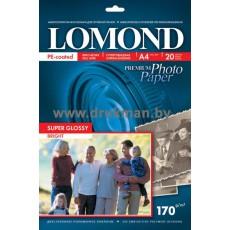 Фотобумага Lomond (SuperGlossy) суперглянцевая односторонняя A4, 170 г/м, 20 л. (1101101)