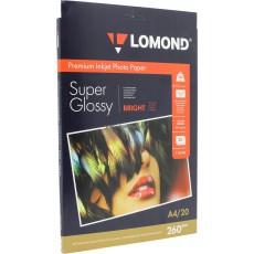 Фотобумага Lomond (SuperGlossy) суперглянцевая односторонняя A4, 260 г/м, 20 л. (1103101)