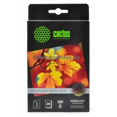 Фотобумага Cactus 10x15, 280 г/м2, 20 л., односторонняя полуглянцевая (CS-SGA628020)