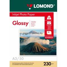 Фотобумага Lomond глянцевая односторонняя A3, 230 г/м, 50 л. (0102025)